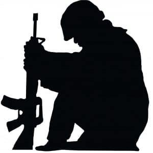 Silhouette Soldier kneeling