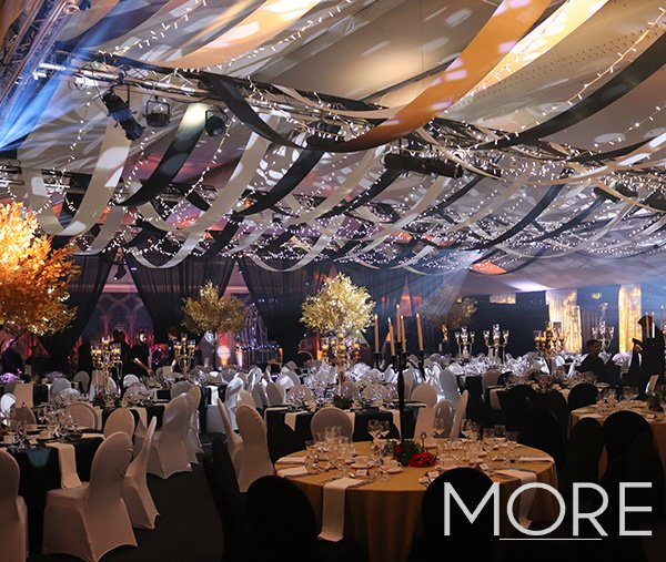 Corporate awards evening Thorpe Park streamer and fairy light ceiling installation