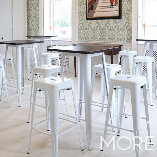 White Tolix Poseur Table with Wooden Top