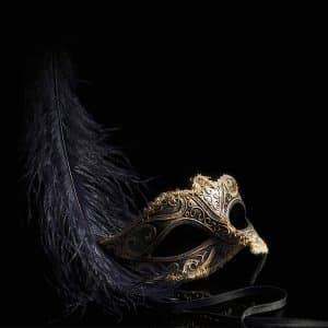 Venetian Mask Backdrop Black and Purple