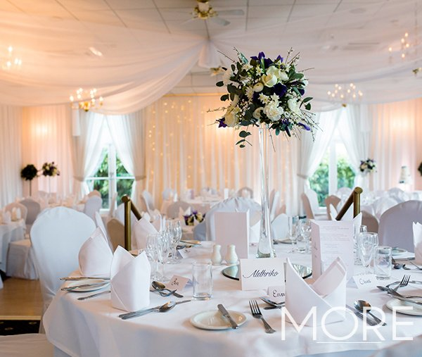 Barnsdale wedding decor with white radial ceiling drapes and white rippled wall drapes