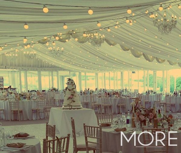 Keythorpe Manor Marquee wedding festoon ceiling canopy
