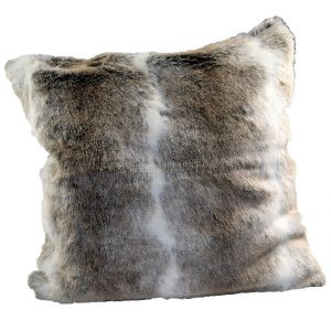 50cm Light Brown and Grey Faux Fur Cushion