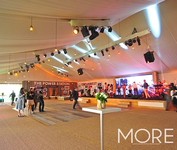 White marquee tack off lining ceiling drape