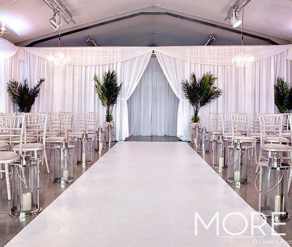 Ladywood Estate wedding white rippled wall drape