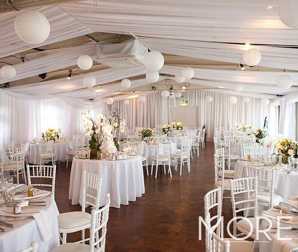 White rippled wall drape HMS wedding