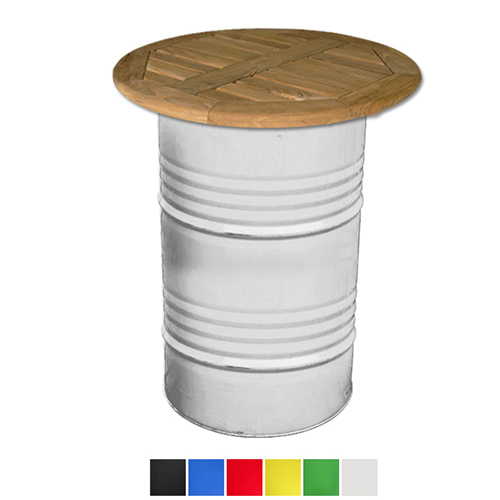 Oil Drum Poseur Table With Wooden Top