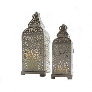 Large Pyramid Topped White Moroccan Lantern