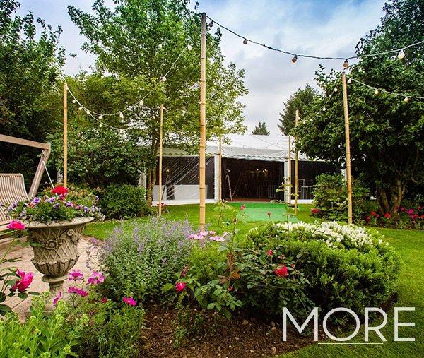 outdoor festoon canopy garden birthday party