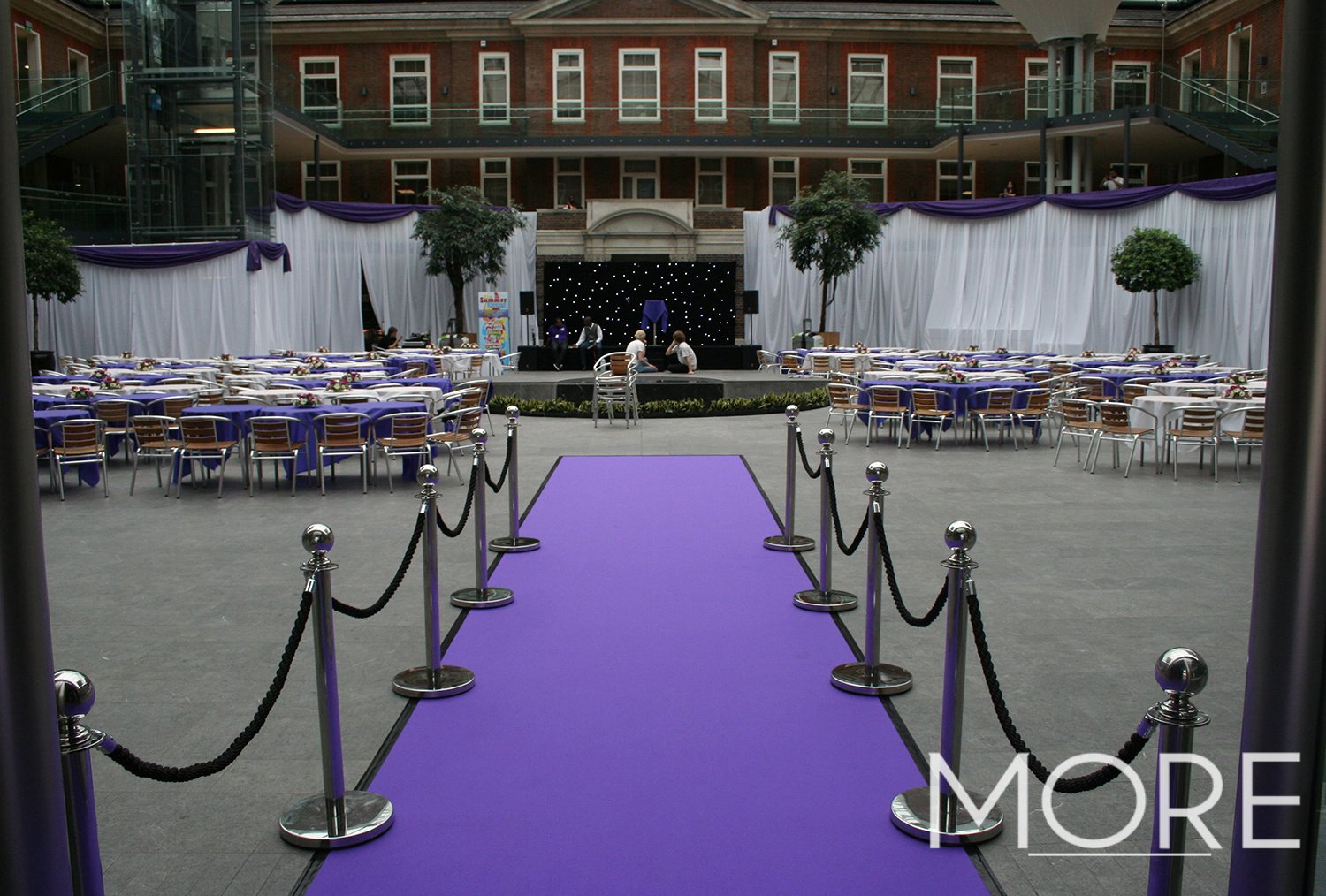 purple carpet entranceway with-post and rope hire