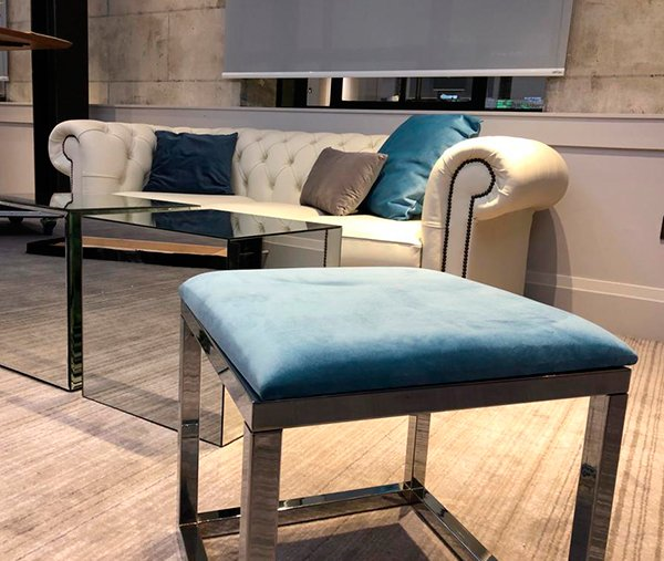 exhibition lounge furniture to hire reflections range and white chesterfield sofa