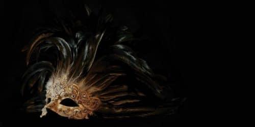 Venetian Mask Backdrop Black and Gold